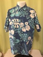 Tori Richard Men's Floral Blue Hawaiian Shirt Size Large Cotton