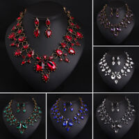 Fashion Rhinestone Jewelry Set Bridal Necklace Earrings Statement Choker Crystal