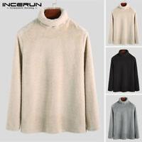 Men's Winter Warm Fluffy Fur Sweater Tops Fleece Long Sleeve Jumper Pullover Top