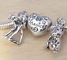 Disney Movie Bambi Deer & Thumper Bunny CZ Be Magical Heart Bead European Charms