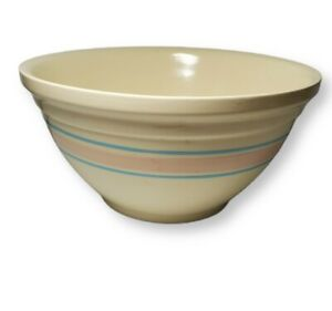 """Vintage  XL  14"""" Mixing Bowl McCoy Pink & Blue Stripes USA Oven Ware Yellow Ware"""