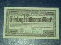 GERMANY - 50 MILLION MARK  BANKNOTE 1923- DARMSTADT-INFLATION - VERY FINE