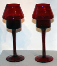 Two piece red glass candle lamp set for tealights and/or votives