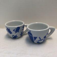 2 Giannini Italian Espresso Cups Blue & White Coffee Pot Print NO SAUCERS