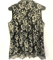 Talbot's NEW Black Gold Lace Sz 6 Evening Lined Blouse Top Sleeveless GORGEOUS