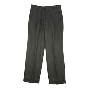 Woman Size 8 Dress Pants Dark Gray 4 Pocket Rolled Hem Wool Blend Made In Italy