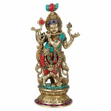 Multi Color Brass Krishna Bhagwan Statue Idol Murti God Figurine Home Decor
