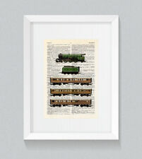 Flying Scotsman Train Set Vintage Dictionary Book Print Wall Art