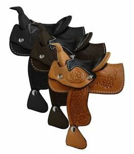 Western Horse Miniature Leather Saddle Adorable Decoration Light, Dark or Black