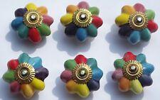 Cerámica CAJONERA ARMARIO Pomos tiradores multicolor Pétalos Flor (latón) x 6