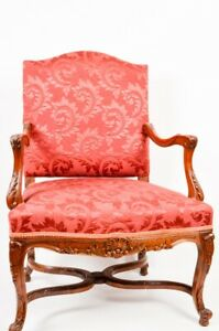 Unique Beautiful Wood Carved Red Armchair FREE SHIPPING