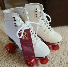 Reniaever Women Roller Double Two Line Skates Skating White Shoes Red Size 39
