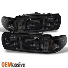 Fit 91-96 Impala Caprice Replacement Smoke 1PC LED Headlights/Corner Lamps LH+RH