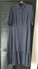 M&S polka dot Navy shirt Midi  Dress Size 18