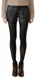 Womens Black Leather Shorts Genuine Lambskin Evening Club Party Wear Pants WS45