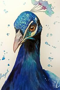 "Peacock bird watercolor original 7""x10"" art by Anne Gorywine"