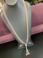Vintage 1950's white and Pink woven imitation pearl beaded long necklace tassel