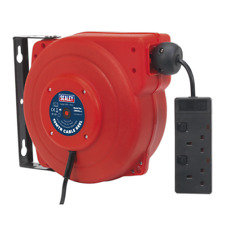 Cable Reel System Retractable 10m 2 x 230V Socket SEALEY CRM10 by Sealey