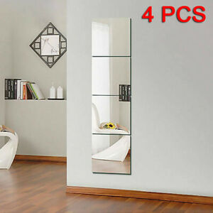 4pc 30CM Mirror Tile Wall Sticker Square Self Adhesive Room Decor Stick On Art !