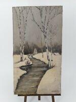Peinture Ancienne, huile sur toile paysage de neige
