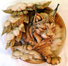 Carved wooden plate Lynx nature 3d effect Beautiful details incredible gift