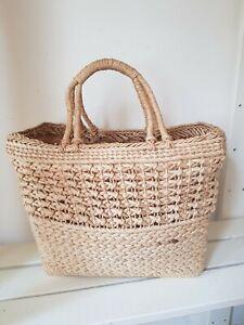 Vintage 60s Wicker Straw Shopper Bag Holdall Large Cottagecore