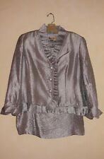 Kasper Silver Skirt Suit Mother of the Bride Rhinestone Buttons Size 16W