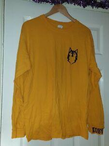 Mens Yellow Long Sleeve Top Size L Gildan