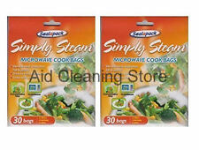 2 Packs X 30 Microwave cook simply steam bags , meat, vegetables, fish & poultry