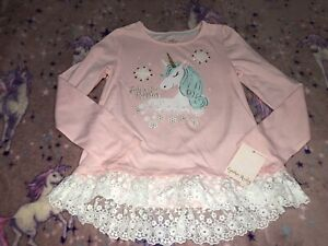 Girls Unicorn Long Sleeve T Shirt Top Bnwt New 7-8 Years Pink Lace