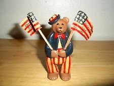 """Spirit of America"" Patriotic Handmade Bear Figurine Signed Folk Art July 4th."