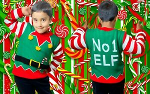 Christmas Xmas Elf Jumper Funny Novelty Kids Childrens Vintage Knitted Sweater