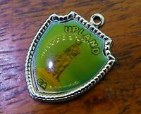 Vintage silver UPLAND CALIFORNIA MADONNA OF THE TRAIL TRAVEL SHIELD charm #E37