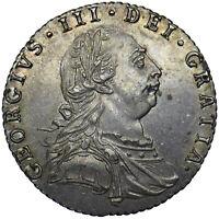 1787 SIXPENCE - GEORGE III BRITISH SILVER COIN - V NICE