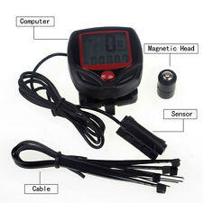 Cycling Bicycle 15 Functions Computer LCD Odometer Speedometer Stopwatch+Battery