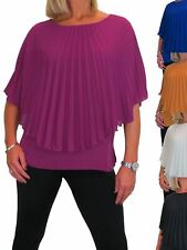 Womens Loose Pleated Chiffon Cape Vest Style Top Party Evening 10-22
