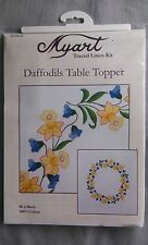 Daffodils Table Topper - hemmed traced linen 80 x 80cm on white 100% cotton