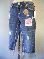 New Almost Famous Blue Short Jeans Destroyed Flood Cuff Capri Crop Splattered 7