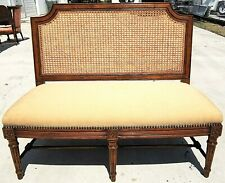 RALPH LAUREN Arles Louis XVI Caned Back Damask Upholstered Settee Solid Wood