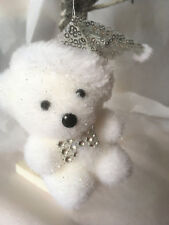 Christmas Tree Decorations - Cute Snowy /Frosted White Hanging Teddy Bear + Hat