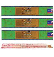 3 Packs Original Satya Natural Patchouli Incense Sticks  Joss - Nag Champa