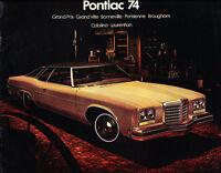 1974 Pontiac Parisienne Laurentian Canada Sales Brochure Bonneville Grand Prix