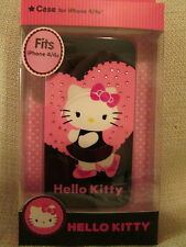 HELLO KITTY iPhone 4/4S Durable Shell Phone Case Cover Black Pink Heart NEW