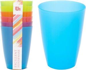 12 x Coloured Tinted Plastic Beakers Mugs School Nursery Picnic Cups Camping