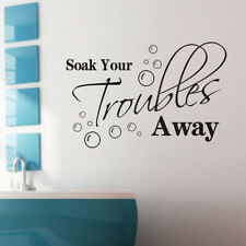 Soak Your Troubles Away Quote Wall Sticker Toilet Decor Mural Bathroom Decal JS
