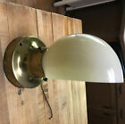 VINTAGE ANTIQUE Gold Metal WALL SCONCE LIGHT FIXTURE Ivory GLASS SHADE