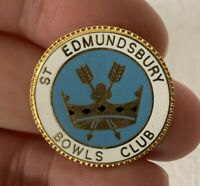 Vintage Metal Enamel ST EDMUNDSBURY Bowling Club Association Pin Badge