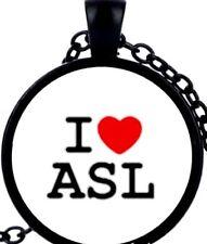 I LOVE ASL HEART New DEAF AWARENESS Handcrafted Black Necklace USA SELLER