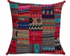 "Indian Handmade Hand Woven Patchwork Floor Pillow Bohemian Cushion Cover 16x16"""