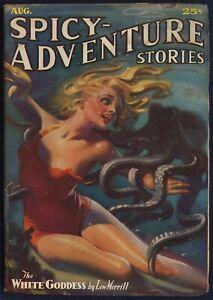 SPICY-ADVENTURE STORIES Pulp, H.J. WARD Undersea Cover, August 1936, FINE